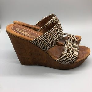 Sbicca vintage collection wood sole wedge sandals